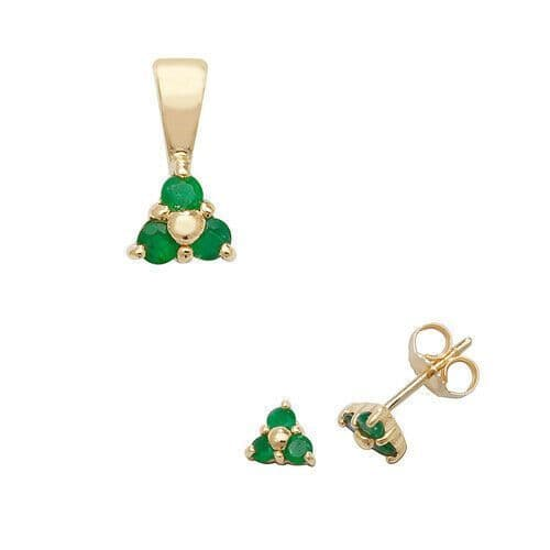 Emerald Pendant and Earrings Set Three Stone Trilogy 9ct Yellow Gold Hallmarked